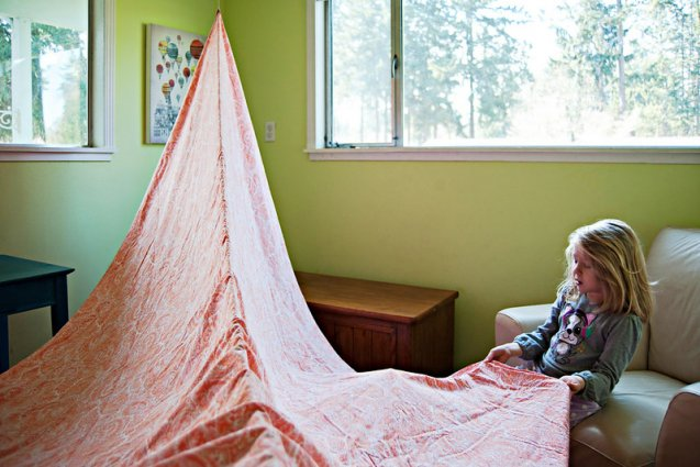 Child building a fort