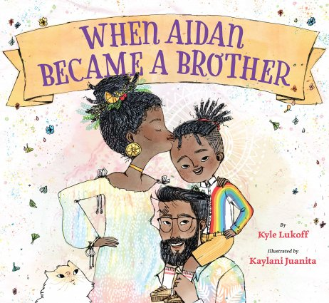 Picture book cover featuring a brown-skinned mother, child, and father gathered joyfully..
