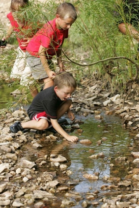Children playing in a creek