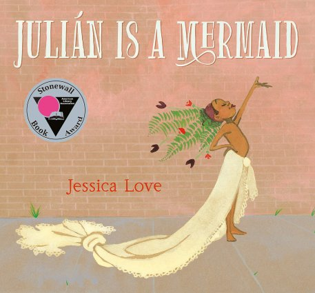 Picture book cover of a child with brown-skin dressed up as a mermaid using household items