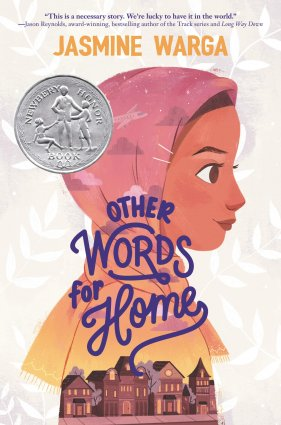 Image depicts book cover of Other Words for Home with a girl wearing a hijab above a street with brick buildings