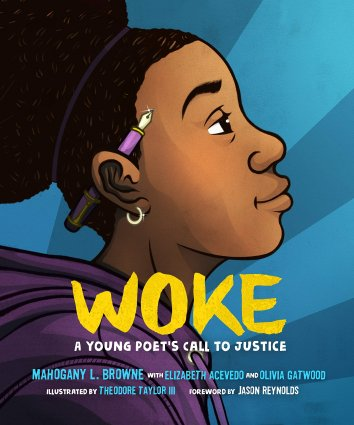 Image depicts Woke book cover with a young Black girl looking up, pencil behind her ear, hopeful look on her face
