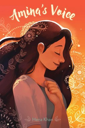 Image depicts Amina's Voice book cover with a girl with light brown skin and dark brown hair looking down, smiling slightly