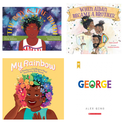 Image depicts book covers of four children's books