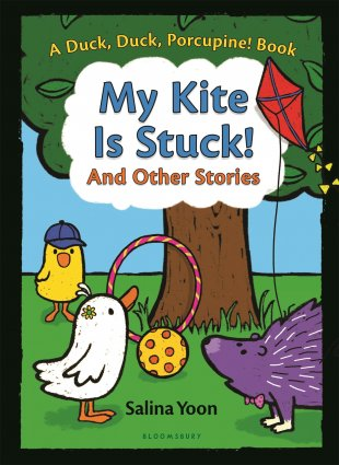 Image depicts My Kite Is Stuck book cover with a yellow duck, a white duck, and a purple porcupine looking at a kite in a tree