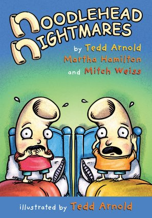Image depicts Noodlehead Nightmares book cover with two cartoon macaroni noodles with eyes and mouths looking startled in bed