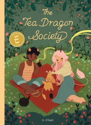 Image depicts Tea Dragon Society book cover with two people with horns lounging on a blanket with a baby dragon