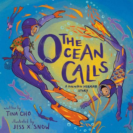 Image depicts The Ocean Calls book cover with two ocean divers in purple wetsuits, one an older adult and one a child.