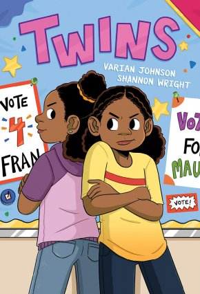 Image depicts book cover of Twins with two Black girls standing back to back smiling fiercely