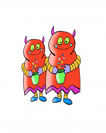 Two small red monsters carrying trick-or-treat bags