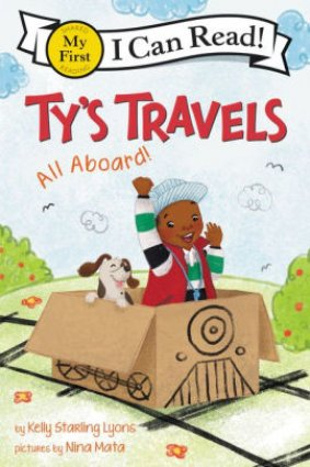 Image depicts Ty's Travels book cover with a smiling Black boy riding in a pretend train made out of a cardboard box