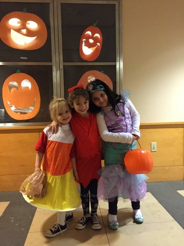 Three girls dressed for Halloween
