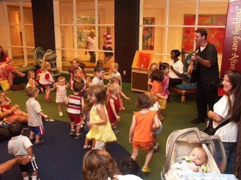 Children dancing during storytime