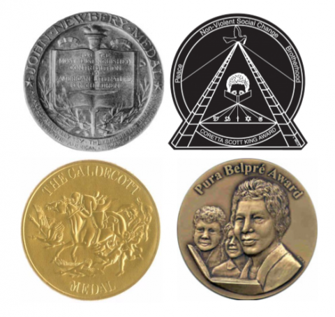 Image of the award seals: Newbery, Coretta Scott King, Pura Belpre, and Caldecott