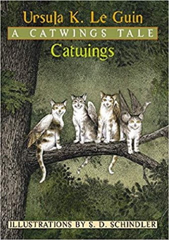 Image depicts Catwings book cover with four smiling cats with wings sitting on a branch in a green forest.