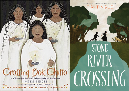 Image depicts book covers of Crossing Bok Chitto and Stone River Crossing with Choctaw people wearing white and holding candles