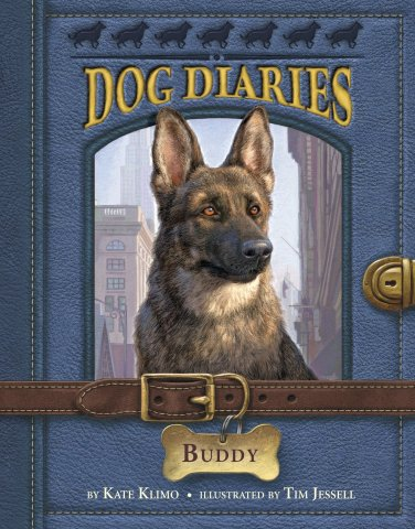 Image depicts Dog Diaries: Buddy book cover with a German shepherd looking out of a blue notebook with noble expression