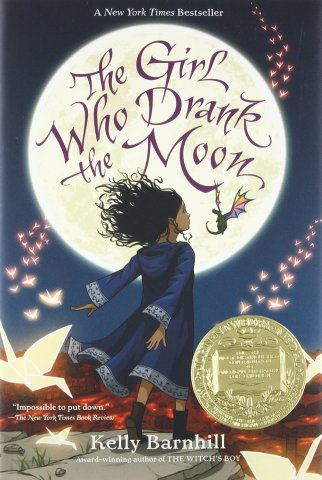 Image depicts the book cover of The Girl Who Drank the Moon with a girl with brown skin and black hair looking up at a full moon
