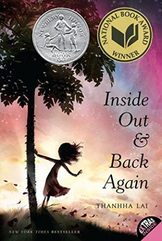 Image depicts the book cover of Inside Out and Back Again with the silhouette of a girl leaning from a tree lit by the sunset.