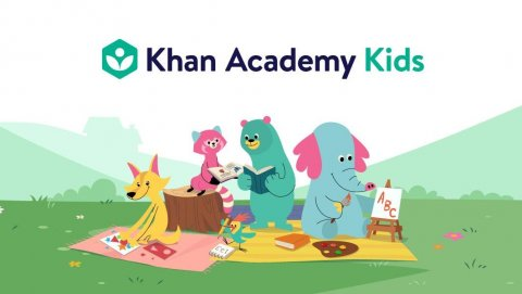 Image of Khan Academy kids' game characters sitting on a blanket outside.