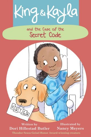 Image depicts book cover of King & Kayla and the Case of the Secret Code with a smiling girl and a dog.