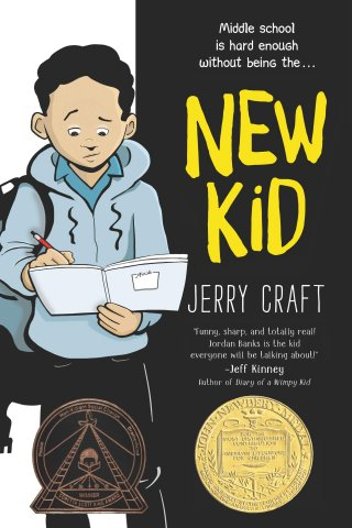 Image depicts New Kid book cover witith a Black boy looking down at a notebook with a worried expression.