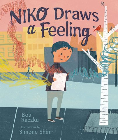 Image depicts Niko Draws a Feeling book cover with a boy drawing in a notebook with crayon marks floating off the page