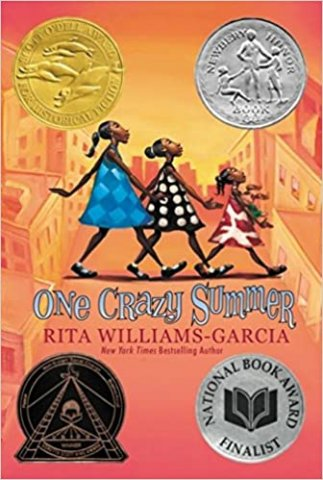 Image depicts the book cover of One Crazy Summer with three Black girls crossing a street against an orange backdrop.