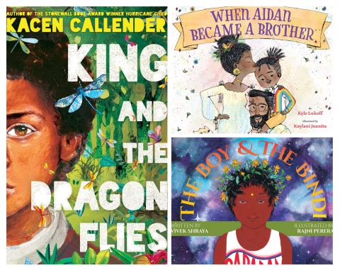 "Collage of cover images of the books ""King and the Dragonflies,"" ""When Aidan Became a Big Brother,"" and ""The Boy and the Bindi."""