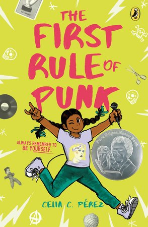 Image depicts The First Rule of Punk book cover with a girl with braids and brown skin, smiling and winking while holding a mic.