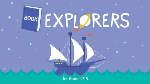 Image depicts a purple ship with white sails sailing on a green ocean. Text says Book Explorers.