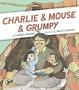 Image depicts Charlie & Mouse & Grumpy Book Cover with two young kids snuggled up on an older adults lap.