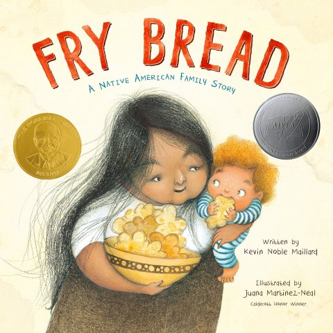Image depicts Fry Bread book cover with an adult holding a big bowl of fry bread and a baby