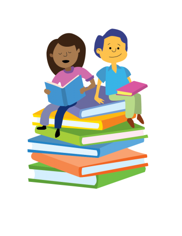 Two children read books while sitting atop a pile of oversized books