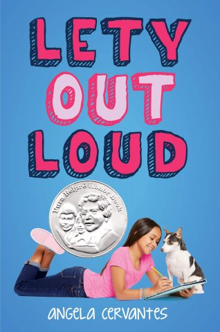 Image depicts Lety Out Loud book cover with a young Latinx girl writing in a notebook while a dog looks on.