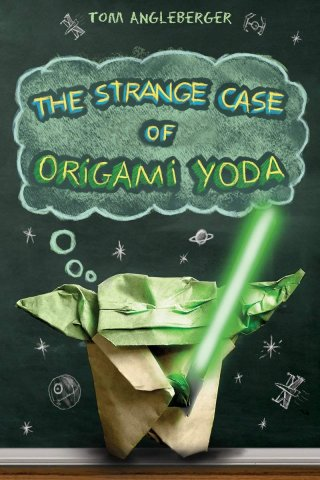 Image depicts The Strange Case of Origami Yoda book cover with Yoda made out of paper holding a light saber