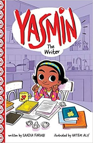 Image depicts Yasmin the Writer book cover with girl sitting at a table covered with books